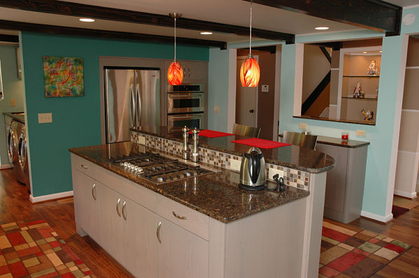 contemporary kitchen with beamed ceiling