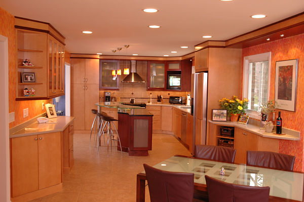 contemporary kitchen with linear layout
