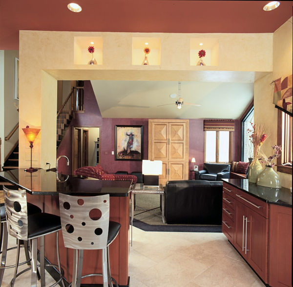 contemporary kitchen with complementary colors