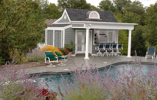 pool house and poolside garden