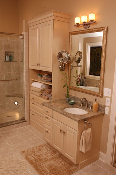 bathroom cabinetry with open shelving