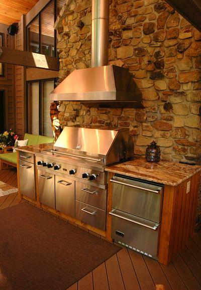 porch with outdoor kitchen storage