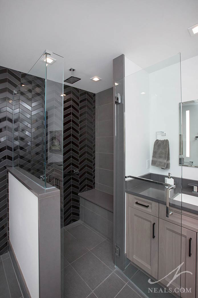 This contemporary shower in Evendale includes a contemporary rain shower head.