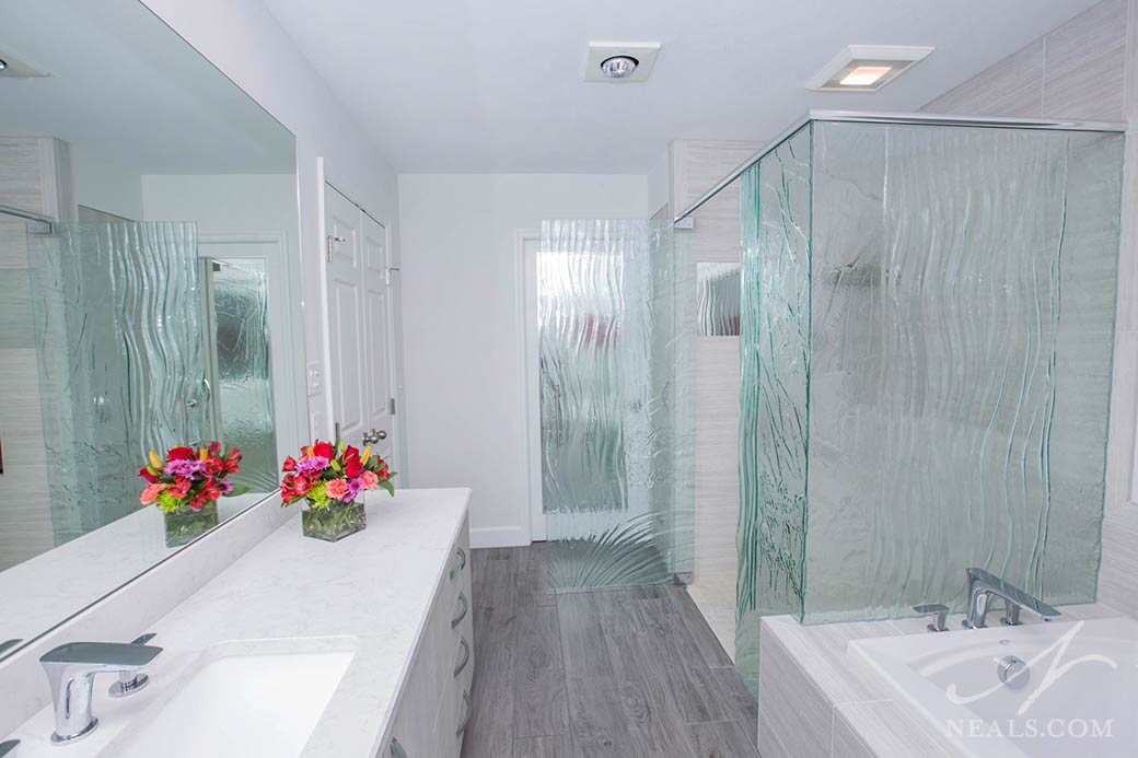 textured glass shower enclosure