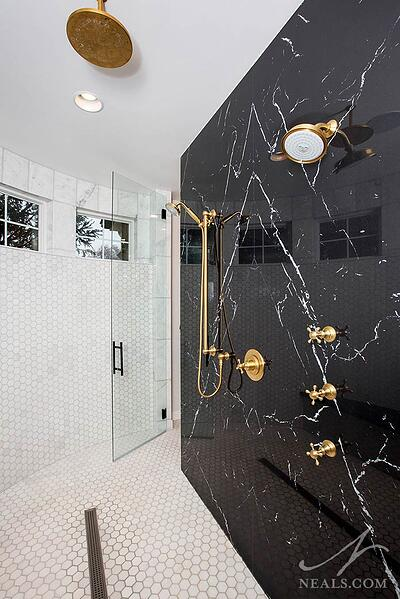 shower with porcelain slab wall