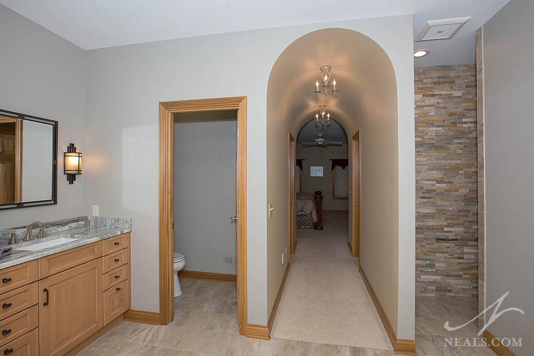 stacked stone feature wall in Western Hills shower