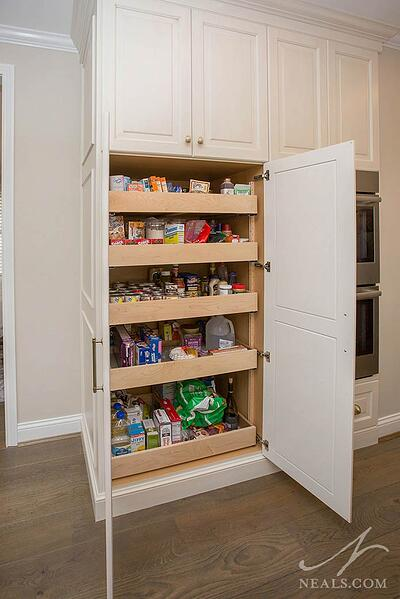 kitchen pantry in a tall cabinet