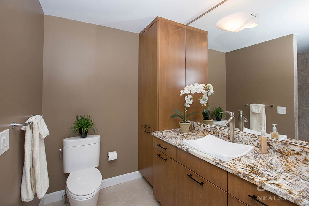 bathroom with tall storage cabinet