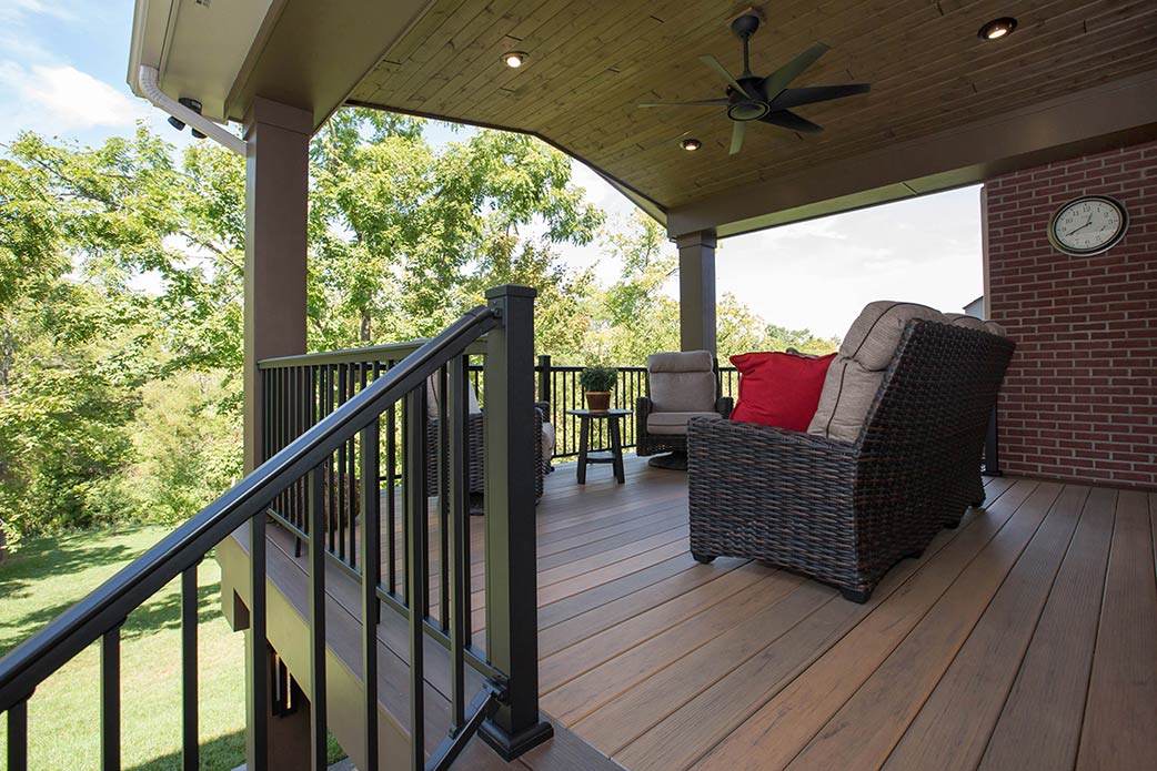 A covered, raised deck.