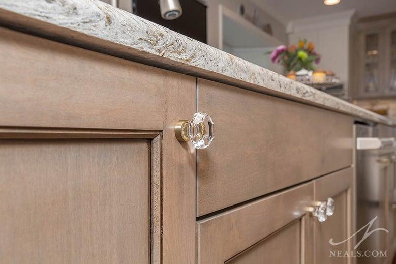 Crystal knobs add elegance to a Western Hills kitchen remodel.