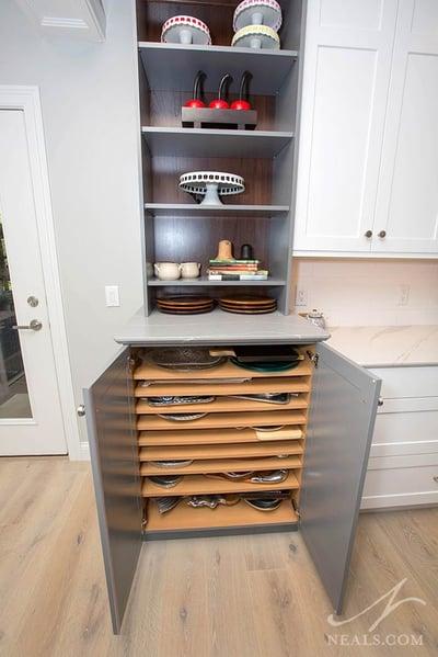 horizontal baking sheet storage shelves