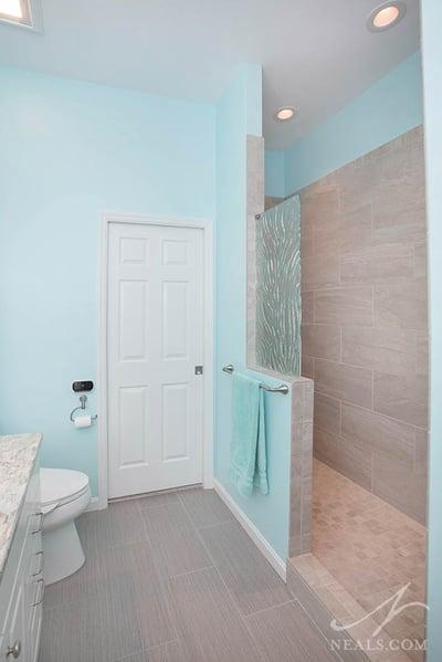 Open shower in Mason bathroom