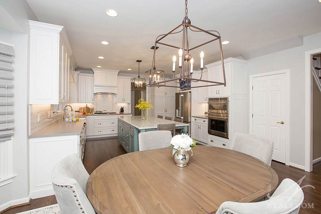 Cage-style chandeliers in the kitchen