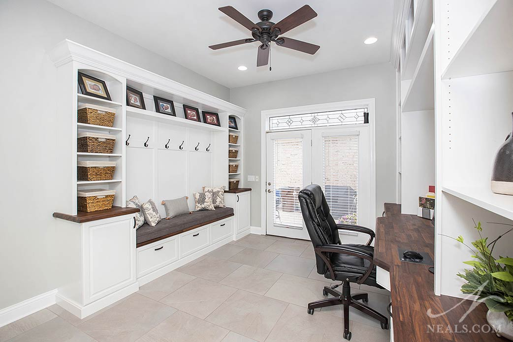 Farmhouse-style details in this Mudroom & Office Remodel in Mason