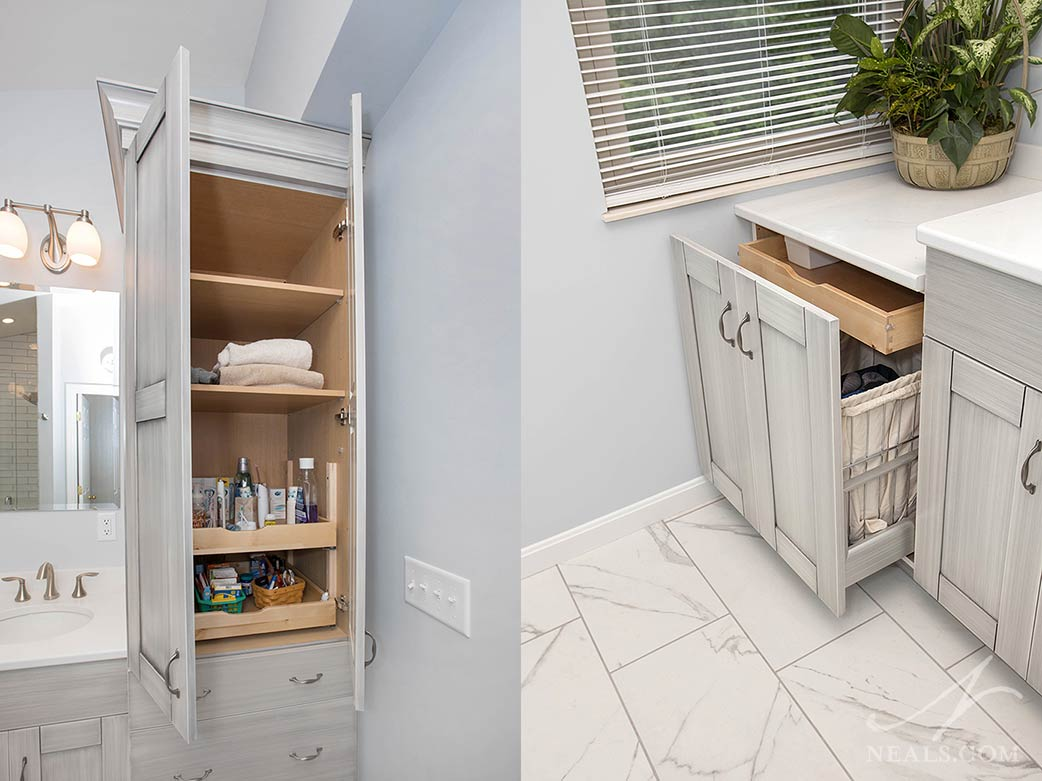 Bathroom with interior drawer pullout storage