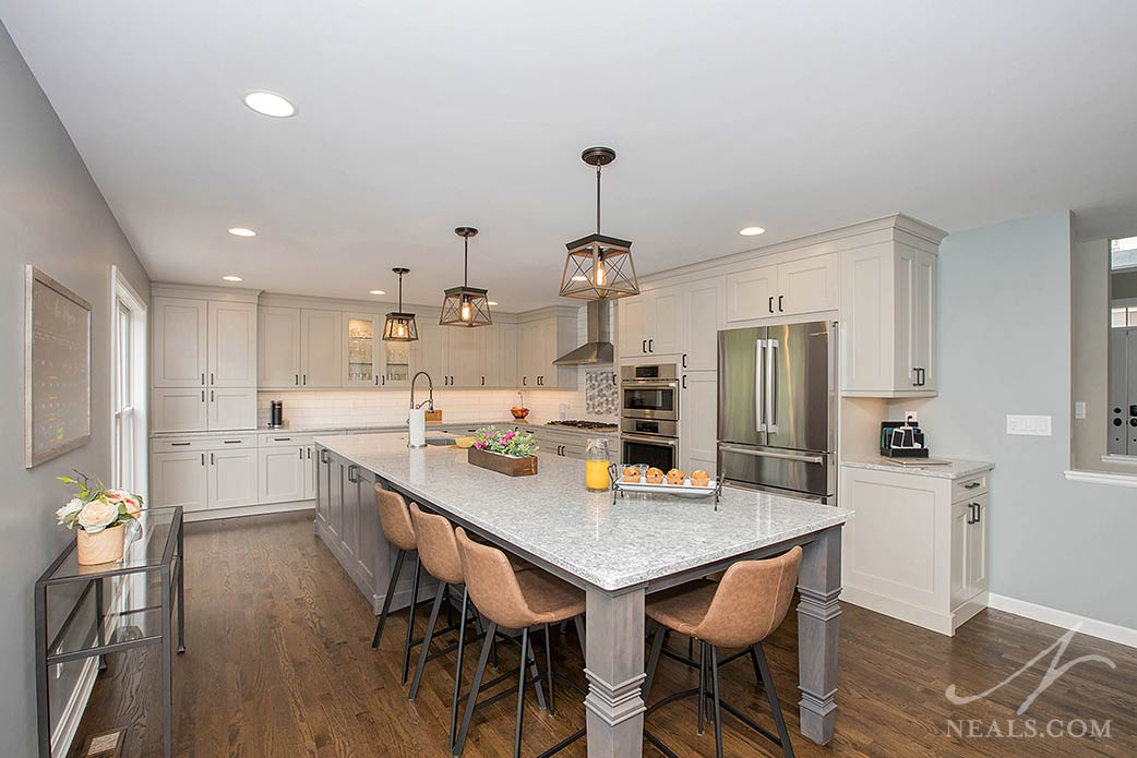 transtional kitchen with a farmhouse style and large island