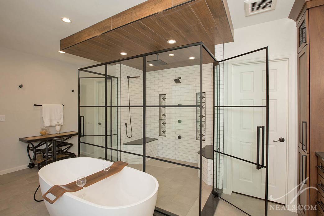 Glass enclosed shower with room for two