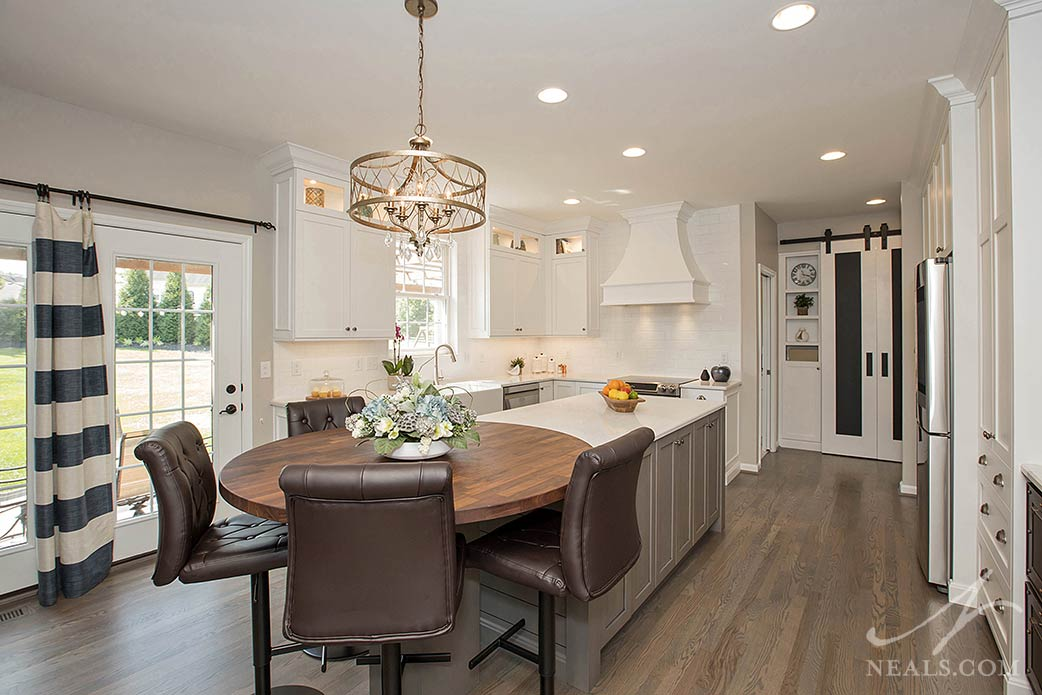 transitional kitchen with white, gray and black cabinetry