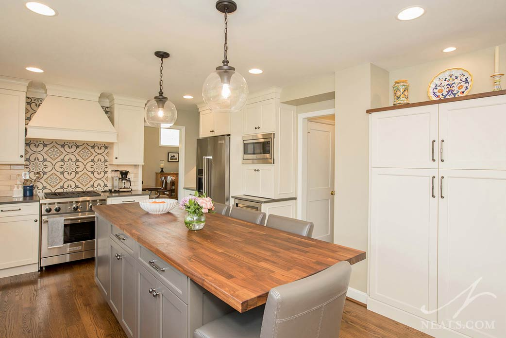 transitional kitchen with wood block counter