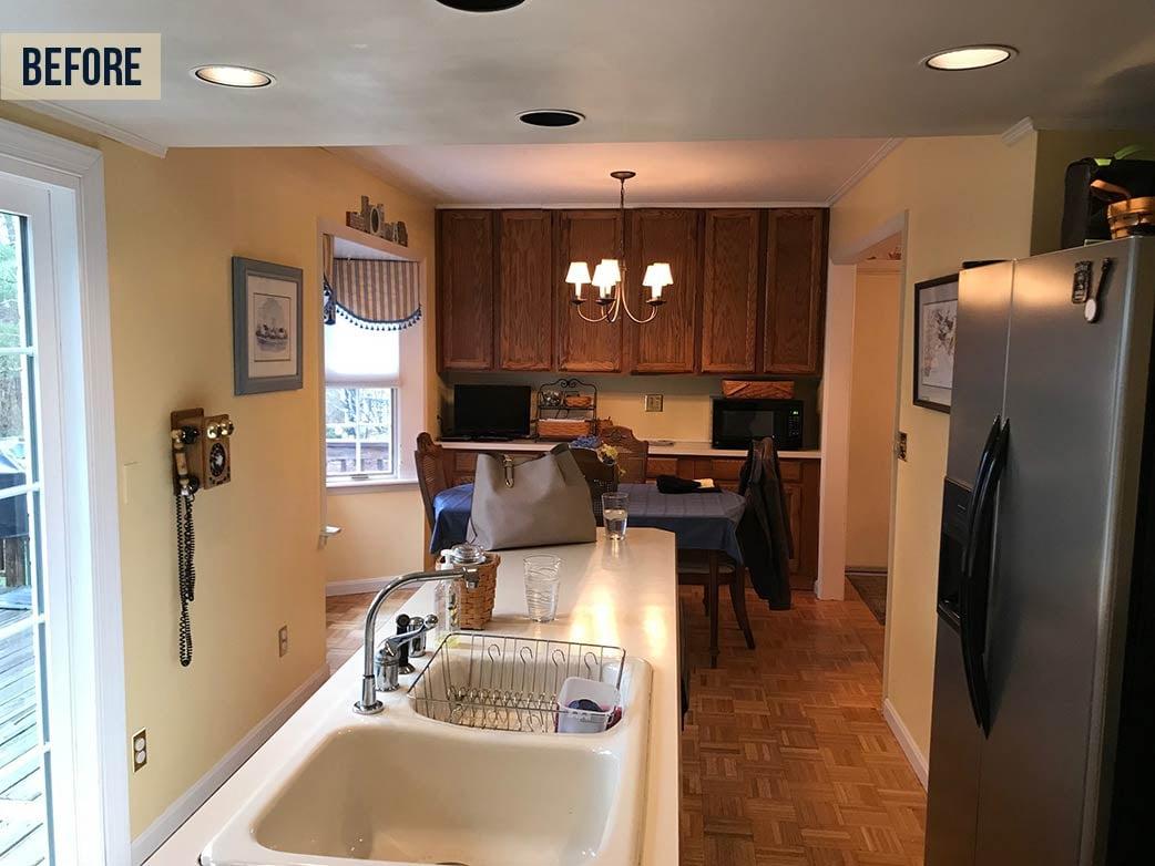 narrow kitchen before