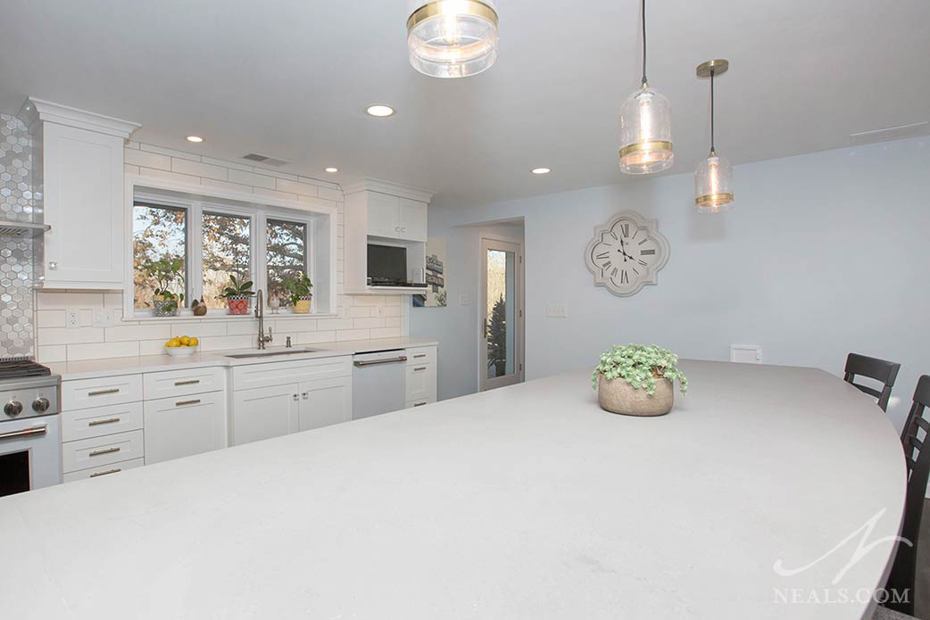 kitchen remodel with white cabinetry