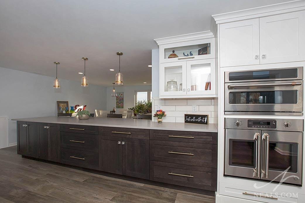 large peninsula in kitchen remodel