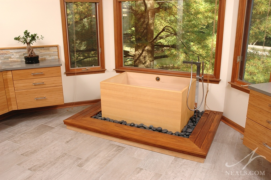 traditional Japanese soaking tub in Sycamore Township bath