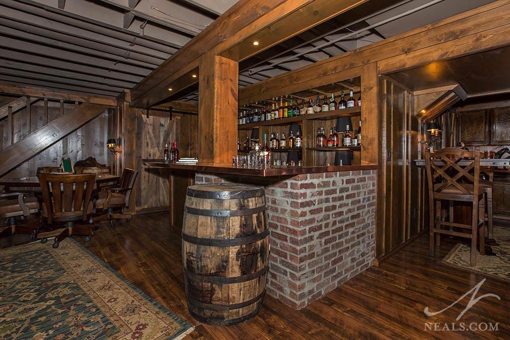 saloon themed basement bar