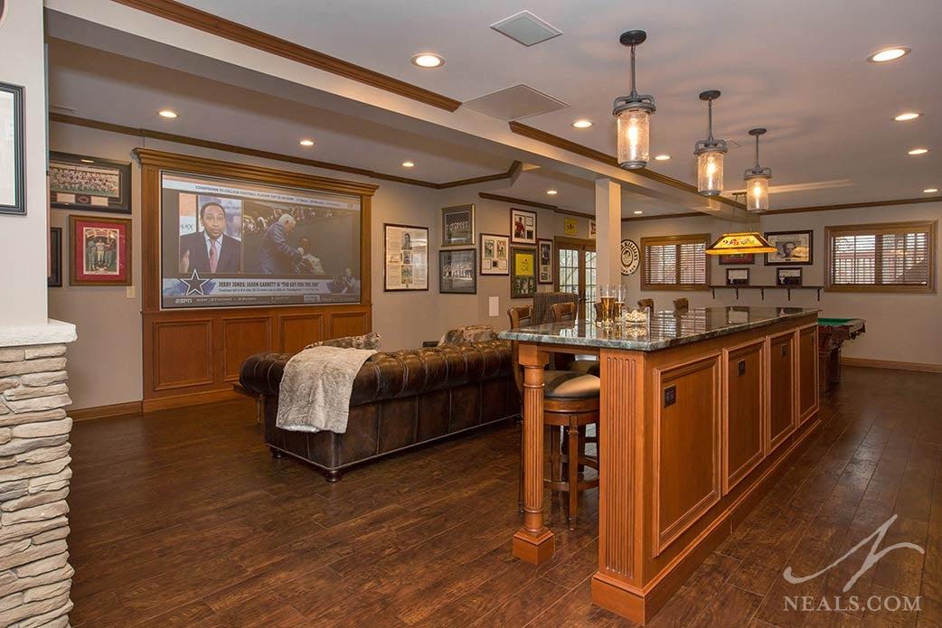 sports bar style basement