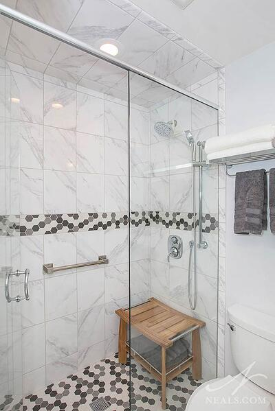 Tiles shower ceiling in this Finneytown bathroom remodel.