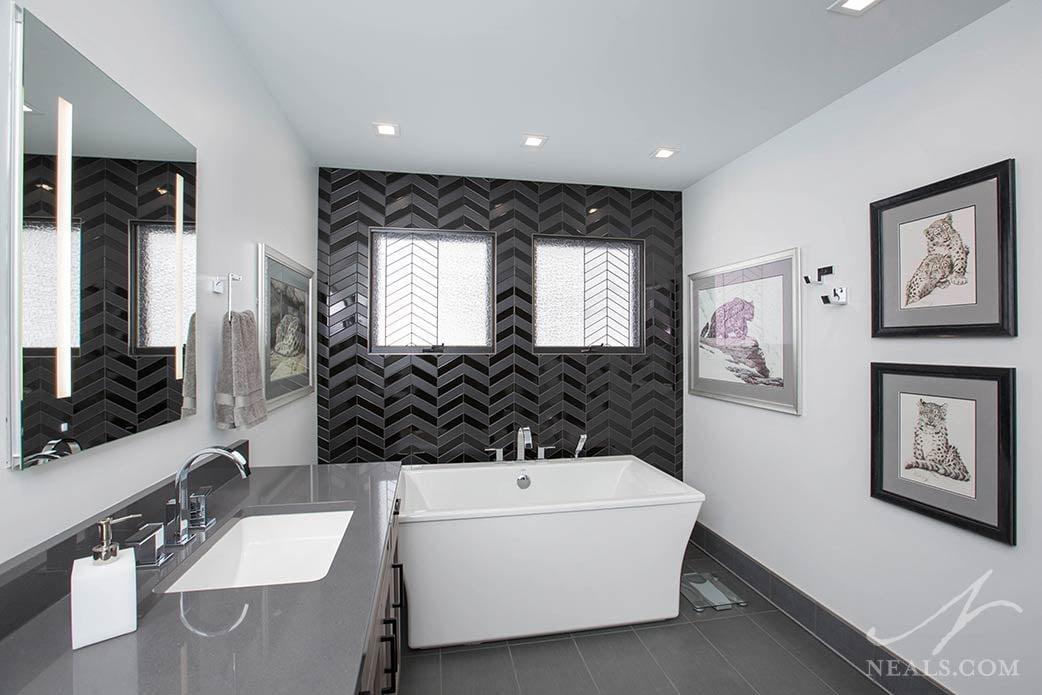 Bold black tile in an Evendale bathroom.