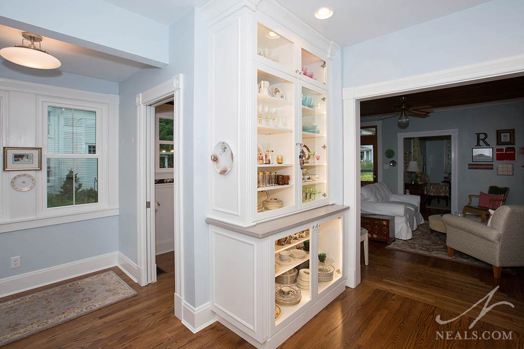 A built-in china cabinet in this Milford kitchen is a great display and storage combination.