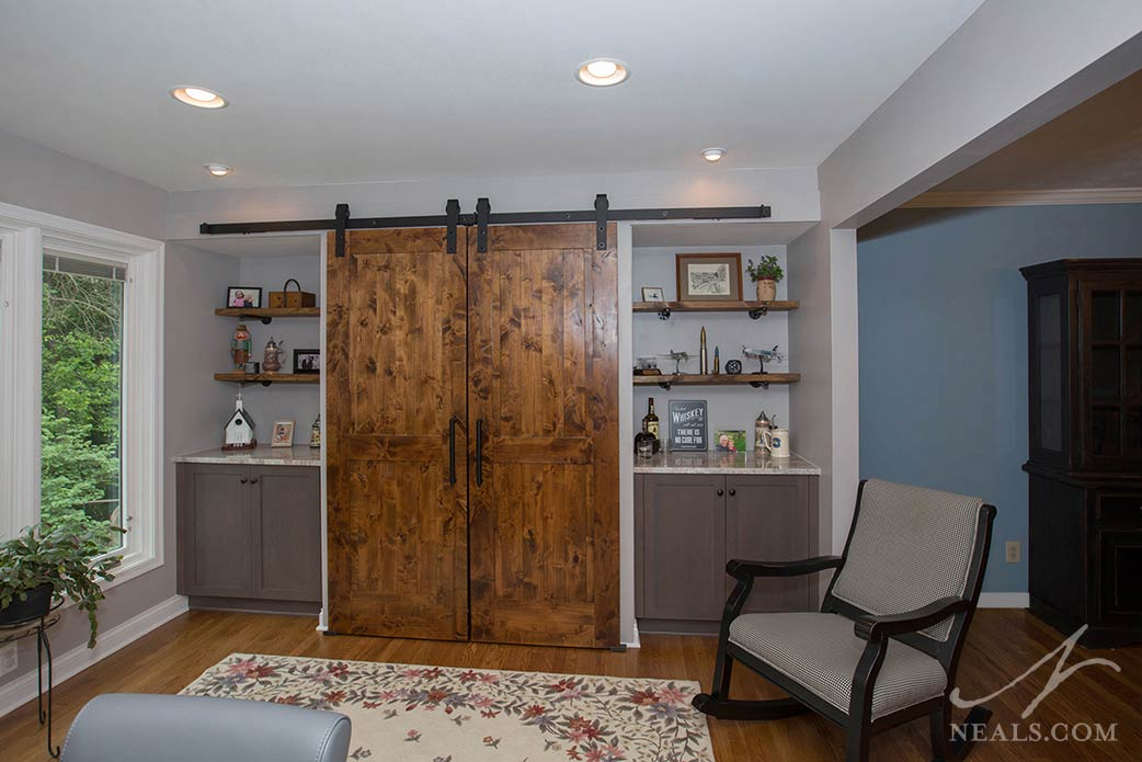 The built-in in this West Chester kitchen offers a lot of useful storage and display space.