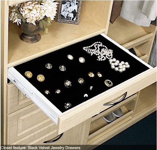Closets by Design offers a selection of accessories, such as this velvet lined jewelry drawer, to help organize your items.