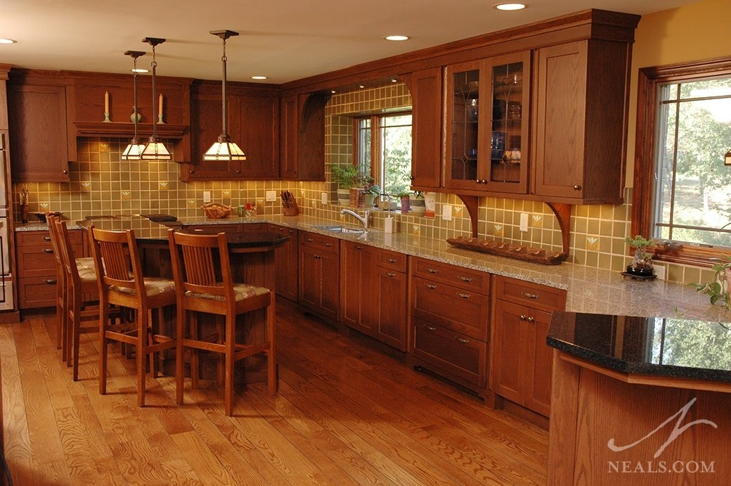 Cabinetry should be simple and practical to conform to the principles of Craftsman design, and should take center stage in the kitchen as the backbone of the style.
