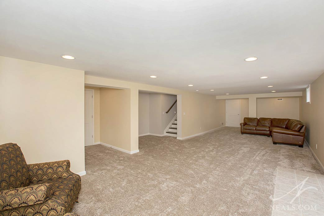 new basement with rearranged staircase