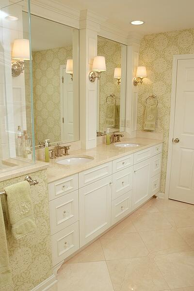 This Montgomery master bathroom, with detailed cabinetry and turn-of-the-century influence is an example of traditional design.
