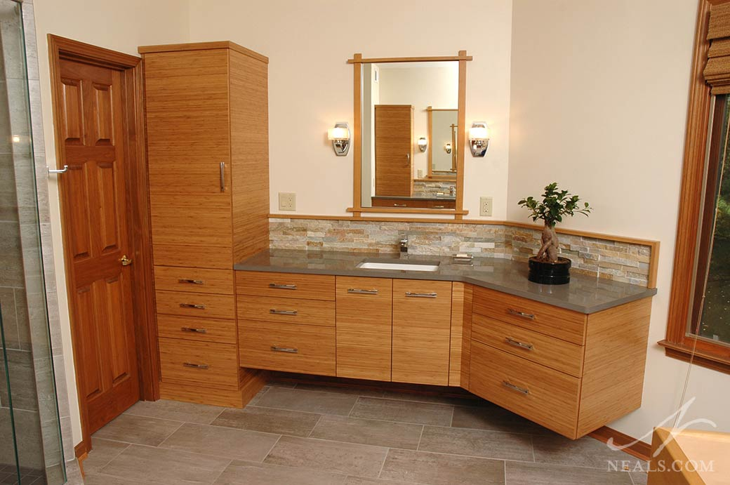 This master bathroom in Sycamore Township is a contemporary space inspired by Japanese design.