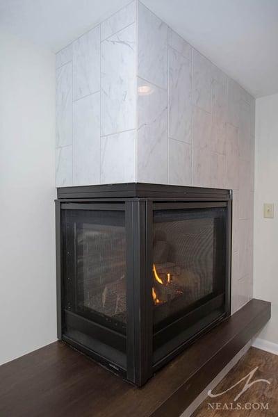 Modern fireplace after