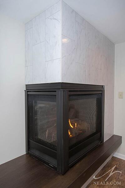 Modern fireplace after