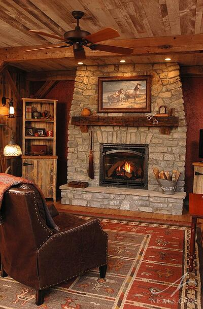 Rustic barn room fireplace after