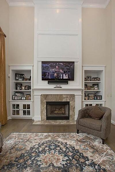 Traditional fireplace after