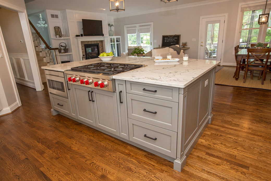 This island in this Loveland kitchen is packed with storage in addition to appliances.