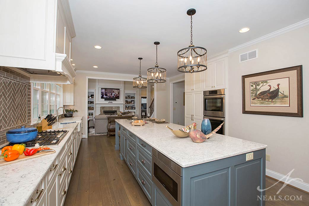 The island in this Withamsville kitchen provides ample counterspace for preparing meals and entertaining.