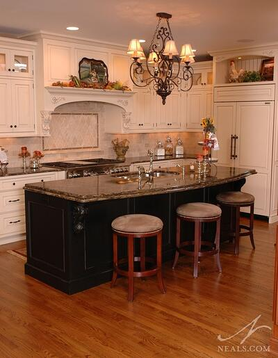 kitchen with a contrasting black island