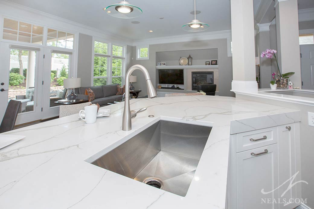 A large single bowl sink in this Montgomery kitchen remodel.