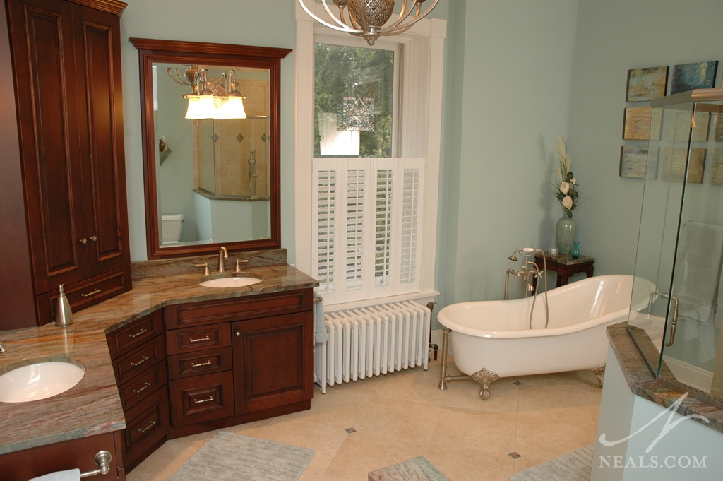 This turn-of-the-century Hyde Park master bathroom was created in an unused bedroom.
