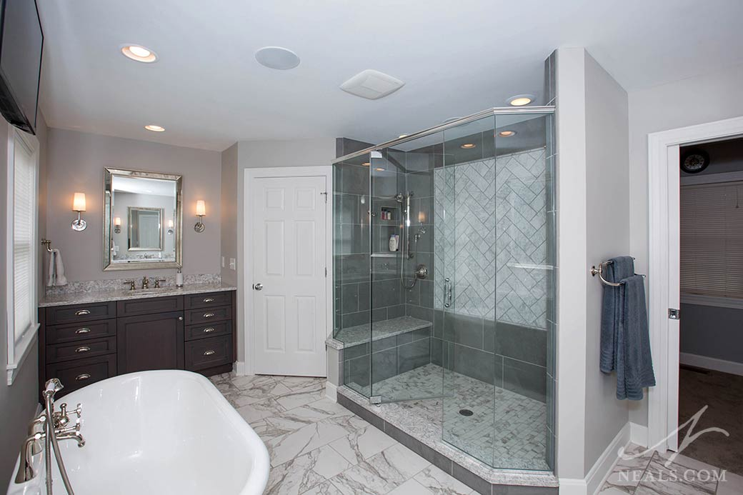 This new master bath and closet rearranged several smaller spaces in this Western Hills remodel.