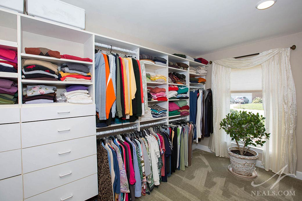 This new walk-in closet was a replacement for the old closet in this Fairfield master suite project.