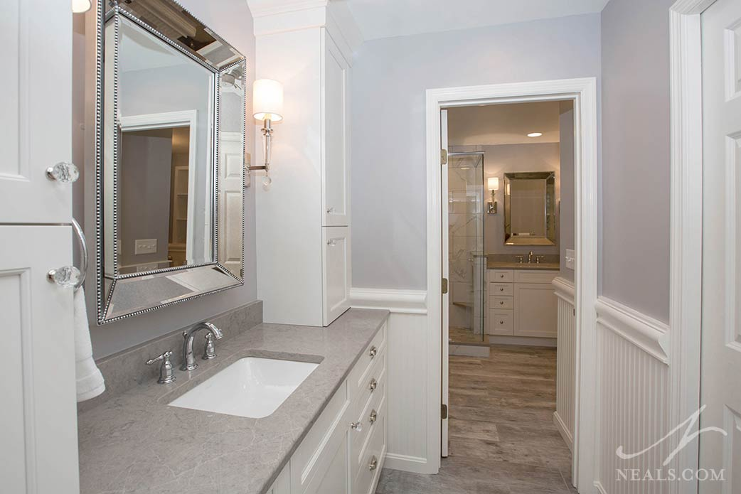 The hallway to this Indian Hill master bathroom offers room for a second vanity.